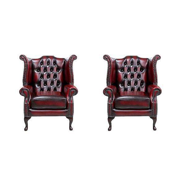 Chesterfield 2 x Queen anne Chairs Leather Sofa Suite Offer Antique Oxblood