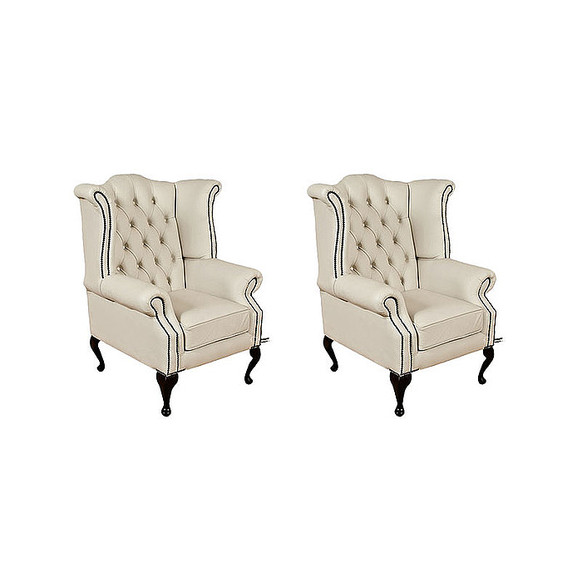 Chesterfield 2 x Queen anne Chairs Leather Sofa Suite Offer Ivory