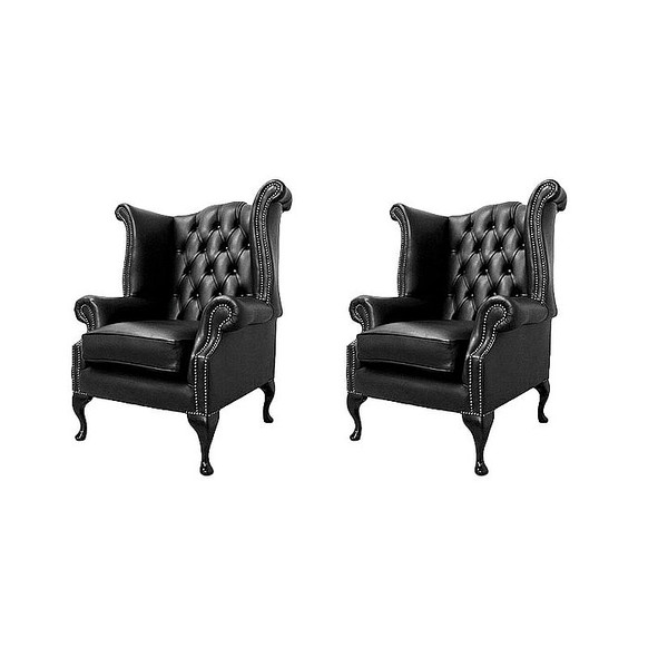 Chesterfield 2 x Queen Anne Chairs Old English Black Leather Sofa Offer