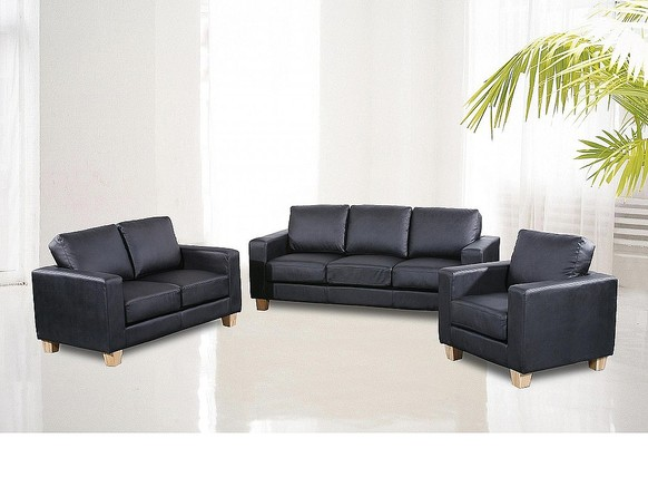 Chesterfield 3+2+1 Faux Leather Sofa Suite Available In Black, Brown Or Cream
