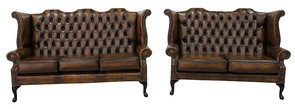 Chesterfield 3 + 2.5 Seater Queen Anne High Back Wing Sofa Suite Antique Tan Leather