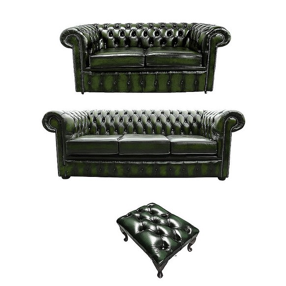 Chesterfield 3+2+footstool Leather Sofa Offer antique Green leather