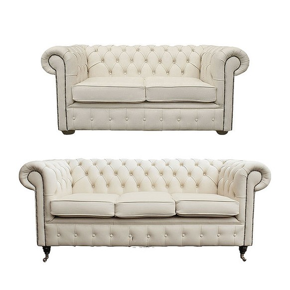 Chesterfield 3+2 Leather Sofa Offer Ivory