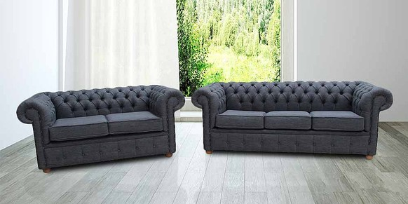 Chesterfield 3+2 Seater Settee Zoe Granite Grey Fabric Sofa Offer
