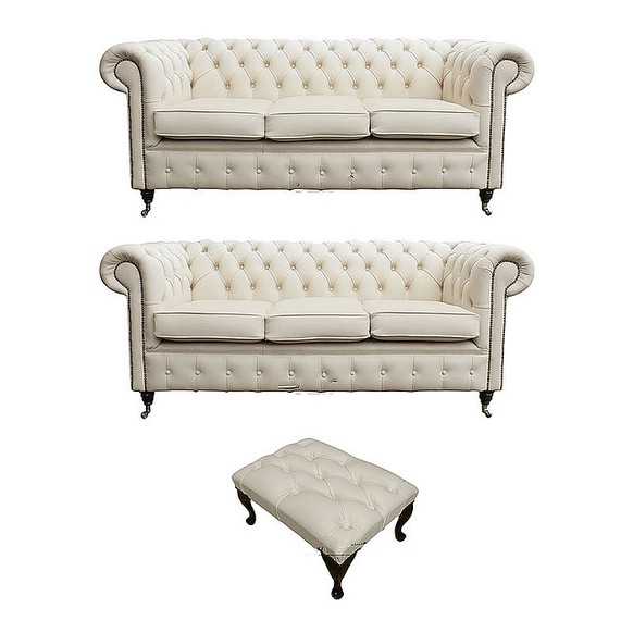 Chesterfield 3+3+footstool Leather Sofa Offer Ivory leather