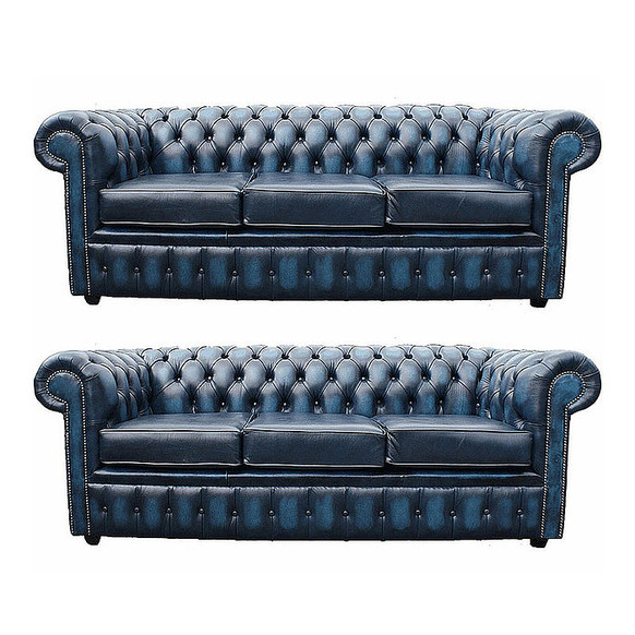 Chesterfield 3+3 Leather Sofa Offer antique Blue