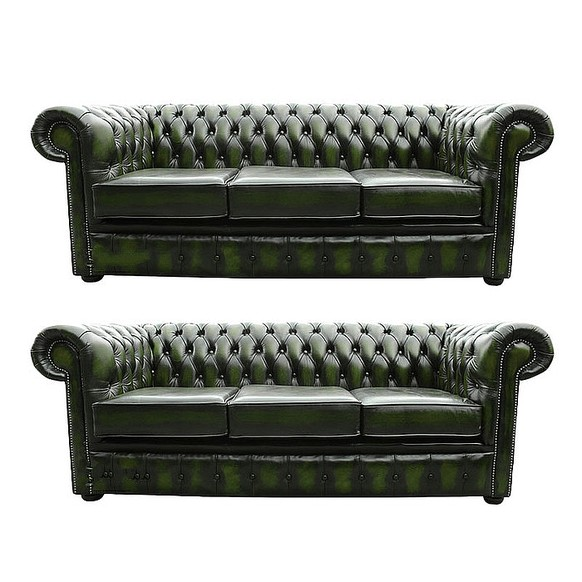 Chesterfield 3+3 Leather Sofa Offer antique Green