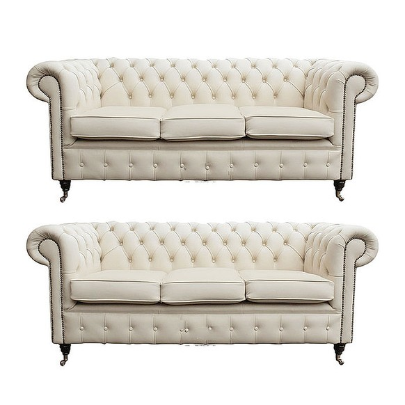Chesterfield 3+3 Leather Sofa Offer Ivory