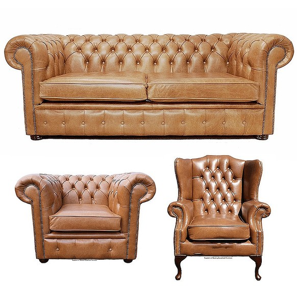 Chesterfield 3 Piece Leather Suite Three Seater Sofa + Club Chair + Mallory Flat Wing Old English Tan