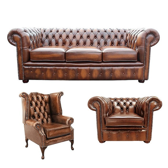 Chesterfield 3 Piece Suite. 3 Seater Sofa + Club Chair + Queen Anne Wing  Chair Leather Sofa Suite Offer Antique Tan