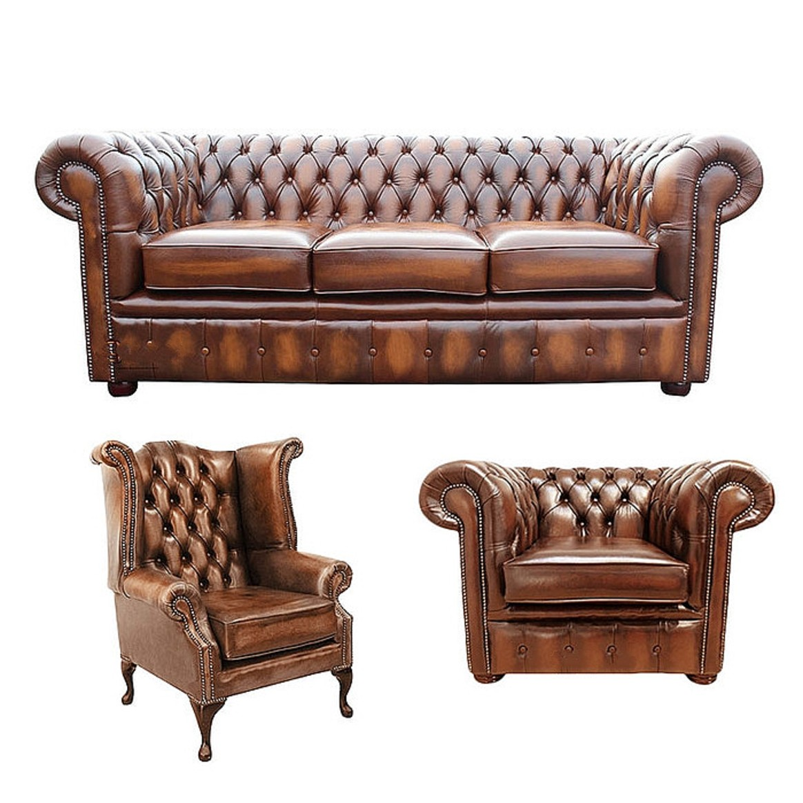 3 Seater Sofa + Club Chair + Queen Anne Wing Chair Leather ...