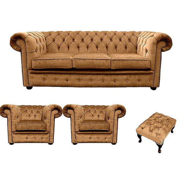 Chesterfield 3 Seater + 2 x Club chairs + Footstool Harmony Gold Velvet Sofa Suite Offer