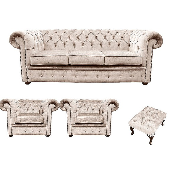 Chesterfield 3 Seater + 2 x Club chairs + Footstool Harmony Ivory Velvet Sofa Suite Offer