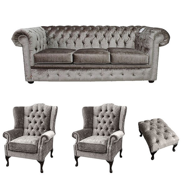 Chesterfield 3 Seater + 2 x Mallory Wing Chairs + Footstool Boutique Beige Velvet Sofa Suite Offer