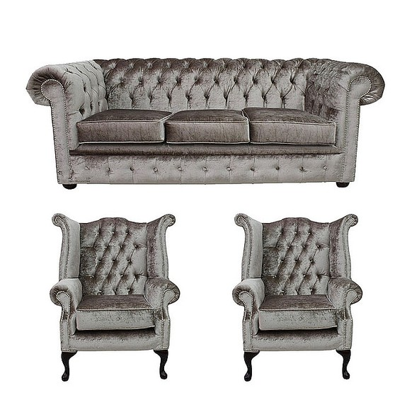 Chesterfield 3 Seater + 2 x Queen Anne Chairs Boutique Beige Velvet Sofa Suite Offer