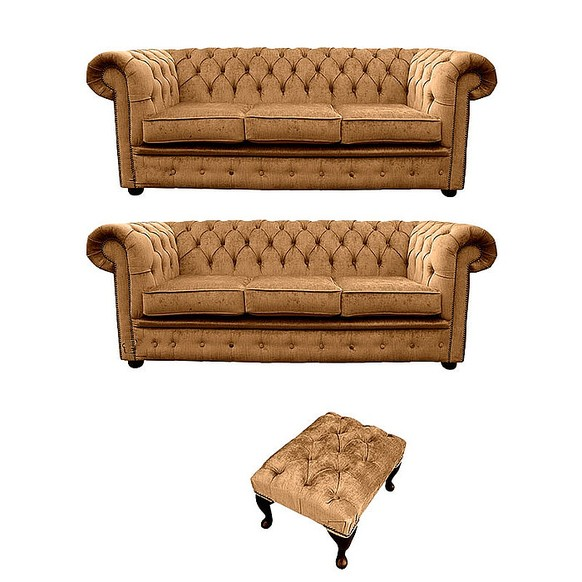 Chesterfield 3 Seater + 3 Seater Settee + Footstool Harmony Gold Velvet Sofa Suite Offer