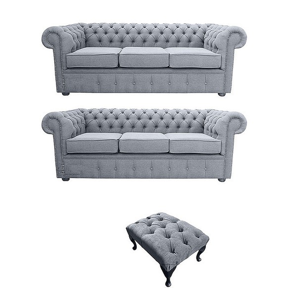 Chesterfield 3 Seater + 3 Seater Settee + Footstool Verity Plain Steel Fabric Sofa Suite Offer