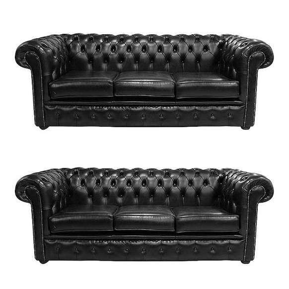 Chesterfield 3 Seater + 3 Seater Sofa Old English Black Leather Sofa Offer
