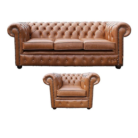 Chesterfield 3 Seater + Club Chair Old English Tan Leather Sofa Offer