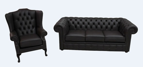 Chesterfield 3 Seater + Flat Wing Chair Dark Chocolate Leather Sofa Offer