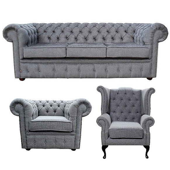 Chesterfield 3 Seater + Queen Anne Chair + Club Chair Verity Steel Fabric Sofa Offer