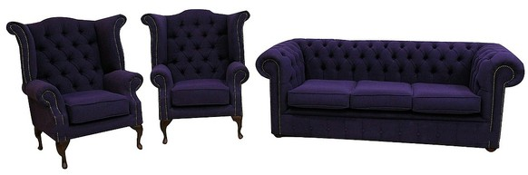 Chesterfield 3 Seater + Queen Anne Chair + Queen Anne Chair Verity Purple Fabric Sofa Offer