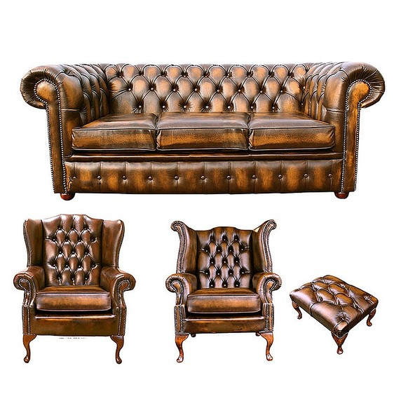 Chesterfield 3 Seater Sofa + 1 x Mallory Wing Chair + 1 x Queen Anne Wing Chair+footstool Leather Sofa Suite Offer Antique Gold
