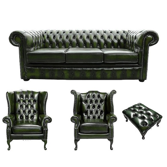 Chesterfield 3 Seater Sofa + 1 x Mallory Wing Chair + 1 x Queen Anne Wing Chair+footstool Leather Sofa Suite Offer Antique Green