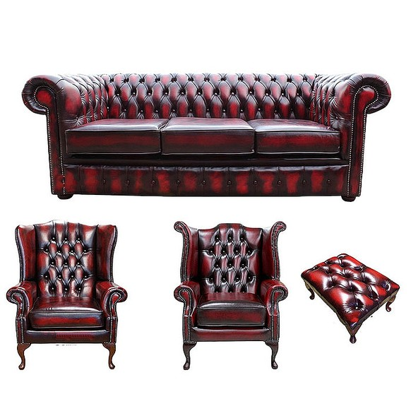 Chesterfield 3 Seater Sofa + 1 x Mallory Wing Chair + 1 x Queen Anne Wing Chair+footstool Leather Sofa Suite Offer Antique Oxblood