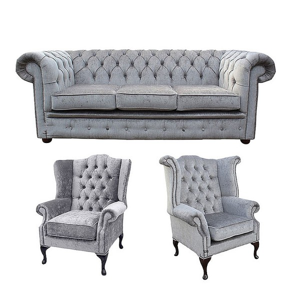 Chesterfield 3 Seater Sofa + 1 x Mallory Wing Chair + 1 x Queen Anne Wing Chair Harmony Dusk Velvet Sofa Suite Offer