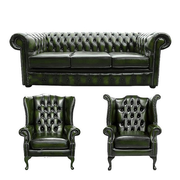 Chesterfield 3 Seater Sofa + 1 x Mallory Wing Chair + 1 x Queen Anne Wing Chair Leather Sofa Suite Offer Antique Green