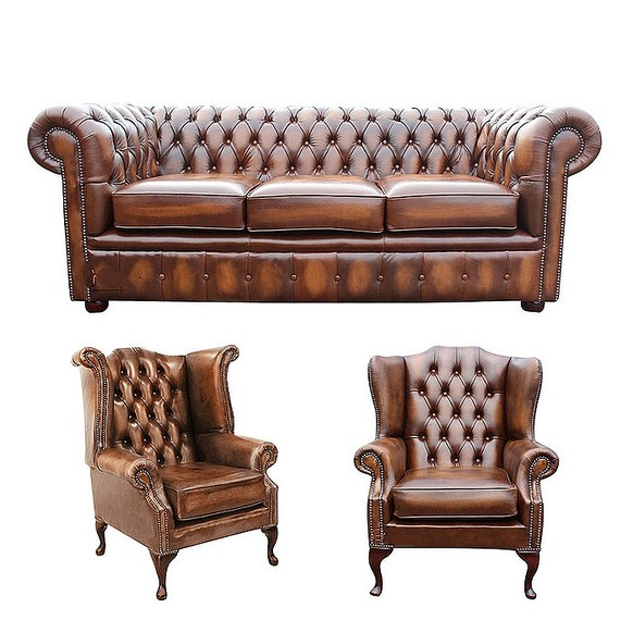 Chesterfield 3 Seater Sofa + 1 x Mallory Wing Chair + 1 x Queen Anne Wing Chair Leather Sofa Suite Offer Antique Tan