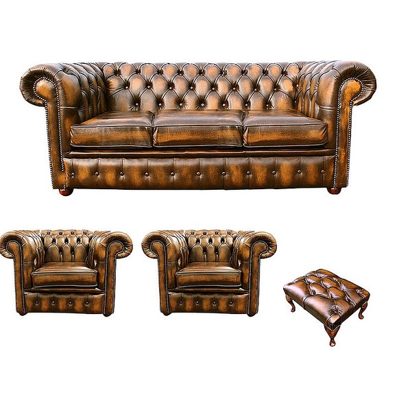 Chesterfield 3 Seater Sofa + 2 x Club Chairs + Footstool Leather Sofa Suite Offer Antique Gold