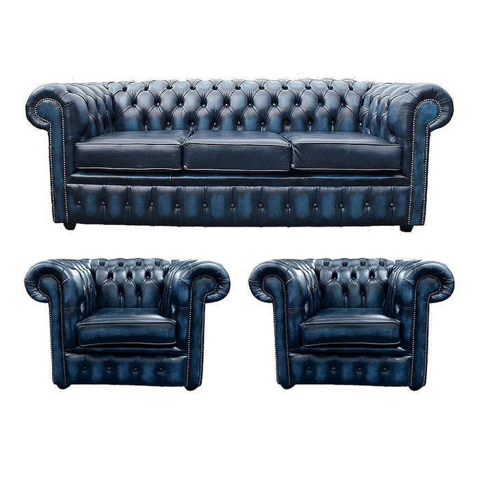 Chesterfield 3 seater sofa 2 x club chairs leather sofa for Divano winchester