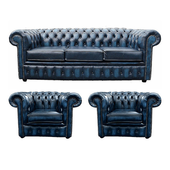 Chesterfield 3 Seater Sofa + 2 x Club Chairs Leather Sofa Suite Offer Antique blue
