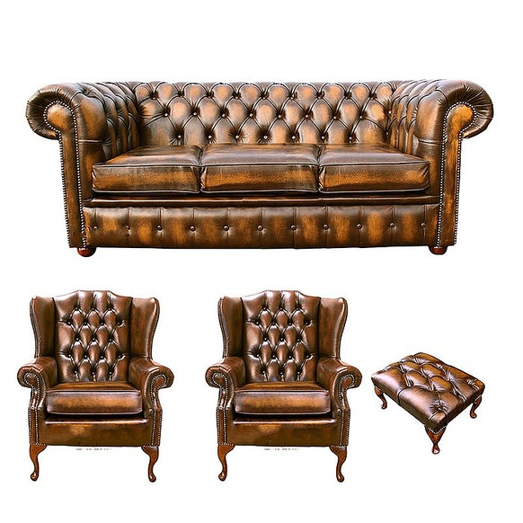Chesterfield 3 Seater Sofa + 2 x Mallory Wing Chair + Footstool Leather Sofa Suite Offer Antique Gold