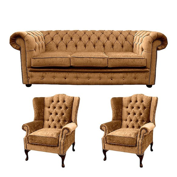 Chesterfield 3 Seater Sofa + 2 x Mallory Wing Chair Harmony Gold Velvet Sofa Suite Offer