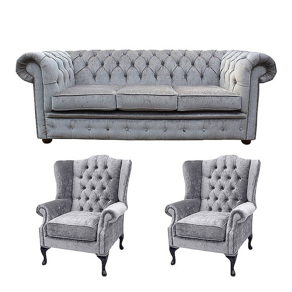 Chesterfield 3 Seater Sofa + 2 x Mallory Wing Chair Perla Illusions Velvet Sofa Suite Offer