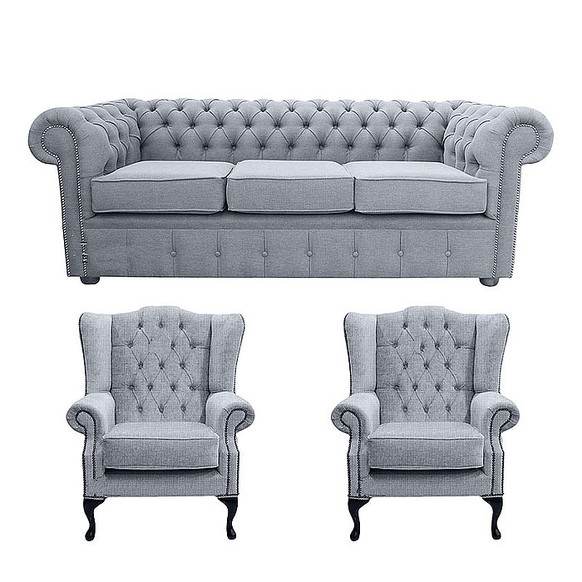 Chesterfield 3 Seater Sofa + 2 x Mallory Wing Chair Verity Plain Steel Fabric Sofa Suite Offer