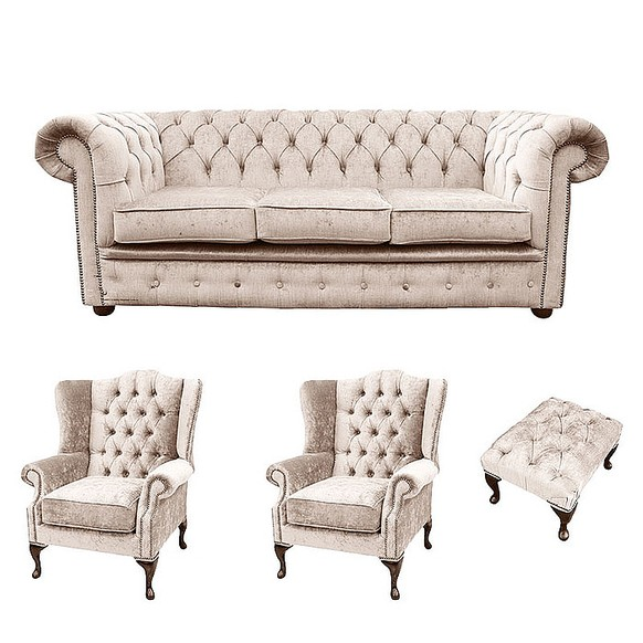 Chesterfield 3 Seater Sofa + 2 x Mallory Wing Chairs + Footstool Harmony Ivory Velvet Sofa Suite Offer