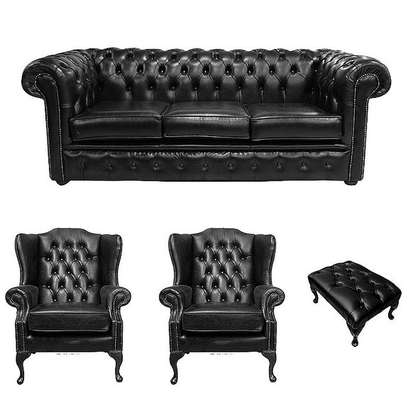 Chesterfield 3 Seater Sofa + 2 x Mallory Wing Chairs + Footstool Old English Black Leather Sofa Offer