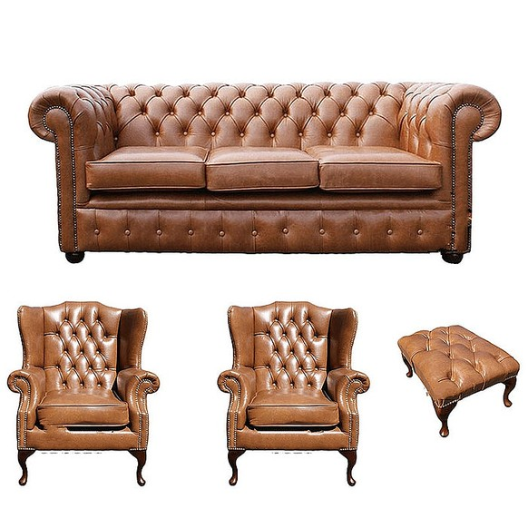 Chesterfield 3 Seater Sofa + 2 x Mallory Wing Chairs + Footstool Old English Tan Leather Sofa Offer