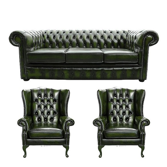 Chesterfield 3 Seater Sofa + 2 x Mallory Wing Chairs Leather Sofa Suite Offer Antique Green