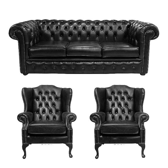 Chesterfield 3 Seater Sofa + 2 x Mallory Wing Chairs Old English Black Leather Sofa Offer