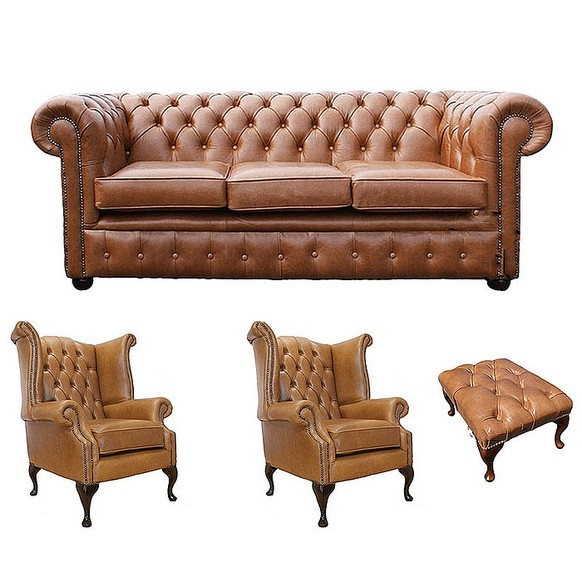 Chesterfield 3 Seater Sofa + 2 x Queen Anne Chairs + Footstool Old English Tan Leather Sofa Offer