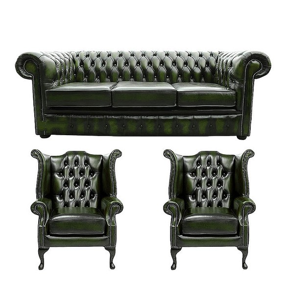 Chesterfield 3 Seater Sofa + 2 x Queen anne Chairs Leather Sofa Suite Offer Antique Green