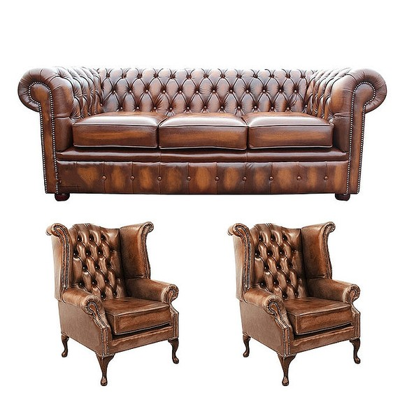 Chesterfield 3 Seater Sofa + 2 x Queen anne Chairs Leather Sofa Suite Offer Antique Tan