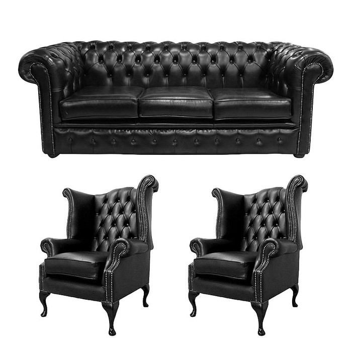 Chesterfield 3 Seater Sofa 2 X Queen Anne Chairs Old English Black Leather Offer