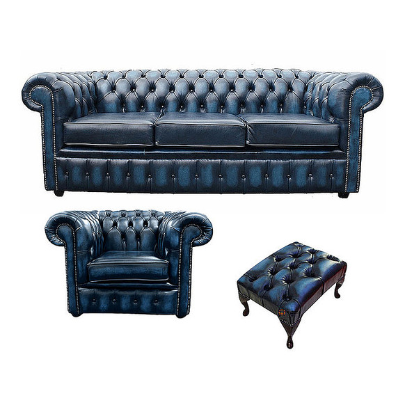 Chesterfield 3 Seater Sofa + Club Chair + Footstool Leather Sofa Suite Offer Antique blue