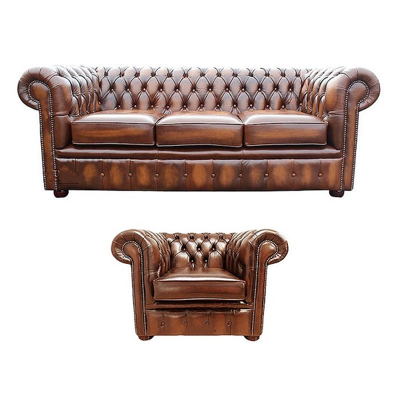 Chesterfield 3 Seater Sofa + Club Chair Leather Sofa Suite Offer Antique Tan